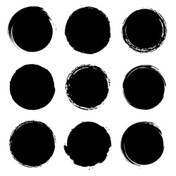Grunge circles collection. Grounge round shapes big set. Vector
