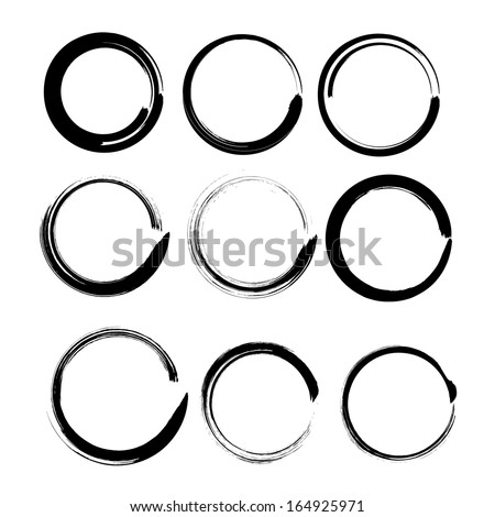 Grunge circles for black paint. Abstract vector ink frames set. Vector illustration. EPS 10