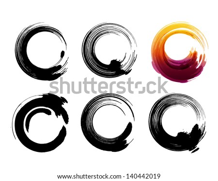 Grunge circles for coffee or black paint.