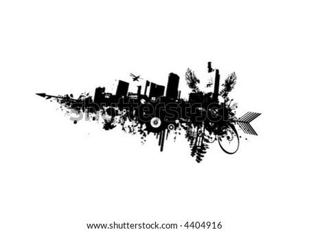 Grunge City mit Pfeil Stock foto ©