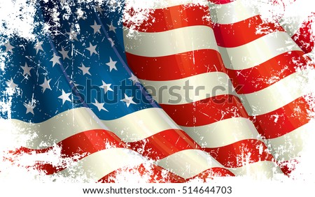 Grunge Close Up Illustration Of A Waving American Flag