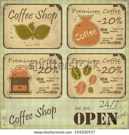 Grunge coffee labels in Retro style on dirty background - vector illustration