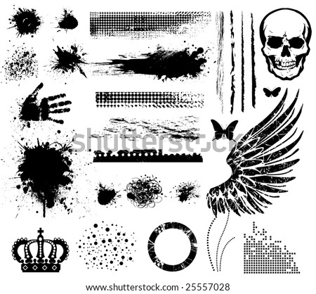 Grunge collection line brushes blots points crown wings hand butterflies skull circle brushes.