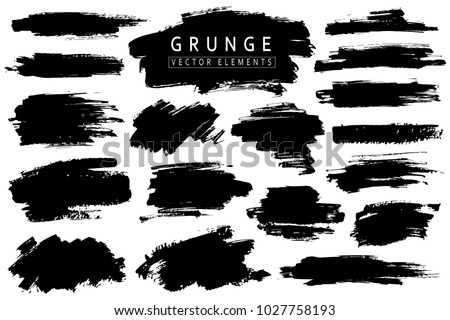 Grunge collection. Vector black brush strokes. Place for text #1027758193