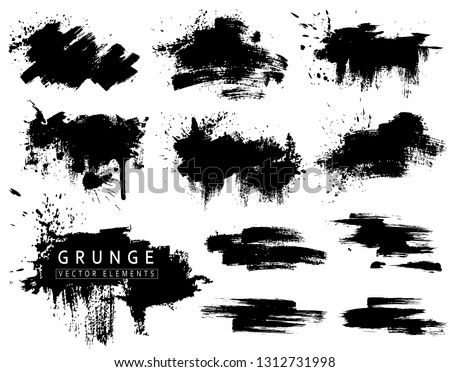 Grunge collection with black brush strokes and splashes. Vector ink blots, brushs #1312731998