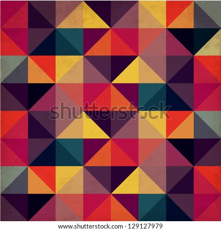 Grunge Colorful Seamless Pattern with Triangles