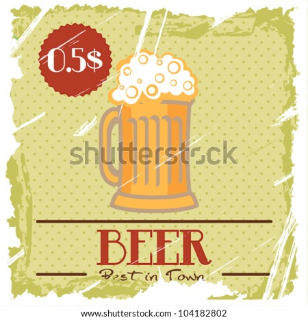 Grunge Cover for Fast Food Drinks Menu - Beer on vintage background