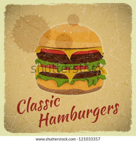 Grunge Cover for Fast Food Menu - Hamburger on Retro Background - vector illustration