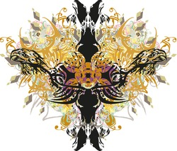 Grunge cross with eagle elements and golden splashes. Splattered eagle heads cross with colorful floral motifs, diamond-shaped patterns on a white background for religious events, wallpaper, etc.