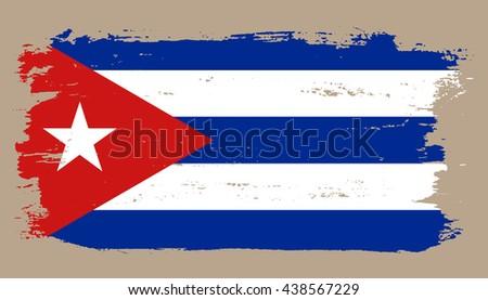 Grunge Cuba Flag.Old Cuban Flag.Vector Flag Of Cuba.