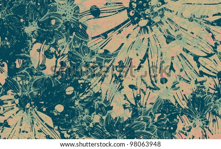 Grunge daisy flower abstract vector background
