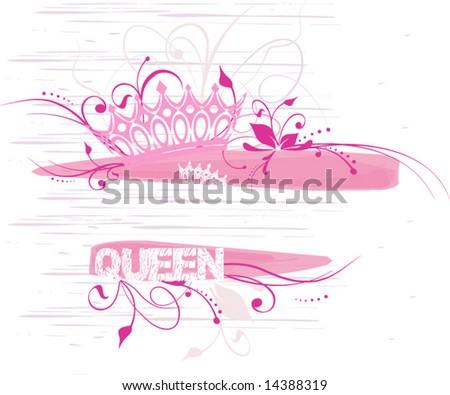 grunge design with a crown