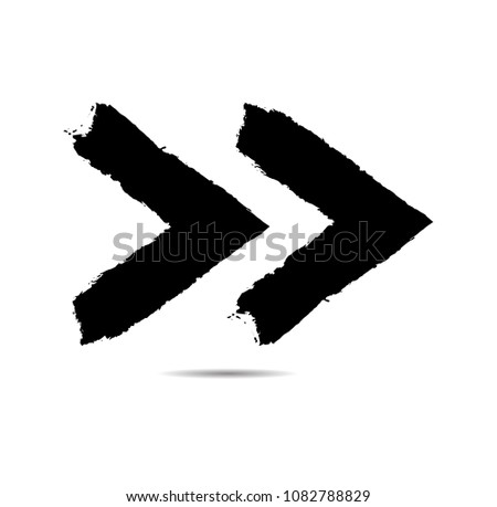 Grunge Dirt Arrow Vector. Dry Brush Stroke . Curved arrow set . sideways. black sign.  element for your design . distressed direction