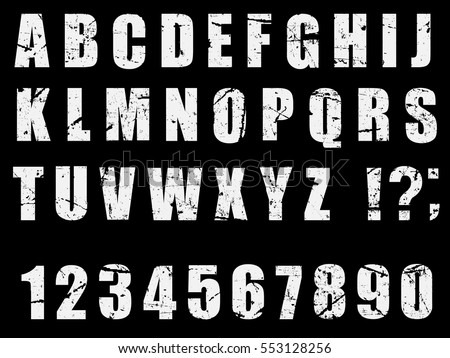Grunge Distress Ink Splash Letters. Dirty Texture Letter Font. Alphabet. Vector