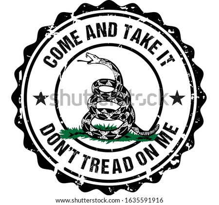 Grunge Don't Tread On Me, Come and Take It emblem for print, T-shirt or badge design. Foto stock ©