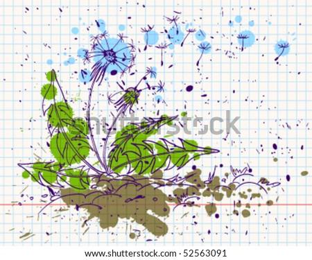 Grunge doodle dandelion, vector illustration