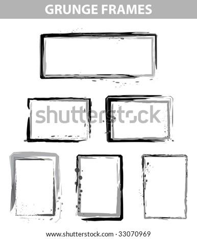 grunge dot frames set in vector mode