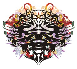 Grunge double eagle head symbol. Two-headed freakish eagle against the background of linear patterns, arrows and colorful ornate elements