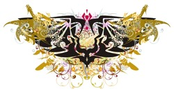 Grunge double eagle symbol with gold dragons. Colorful splashes in a double eagle symbol with winged dragons, the floral coiling elements and color drops