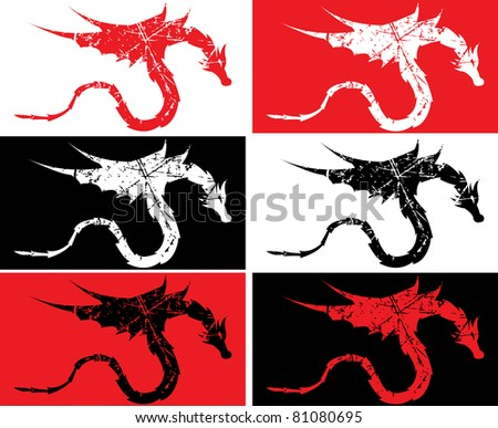 grunge dragons on varicolored