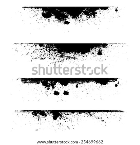 Grunge Edges Vector Set Design Elements Grunge Borders Dividers or Brush Strokes
