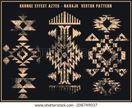Grunge effect aztec navajo vector pattern illustration