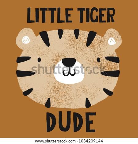 grunge effected cute tiger head