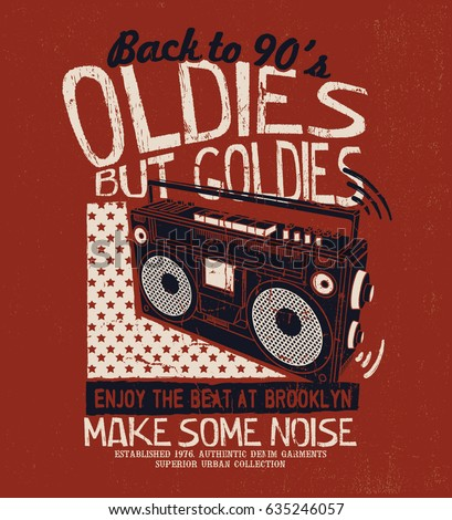 grunge effected tee print design as vector with vintage boombox