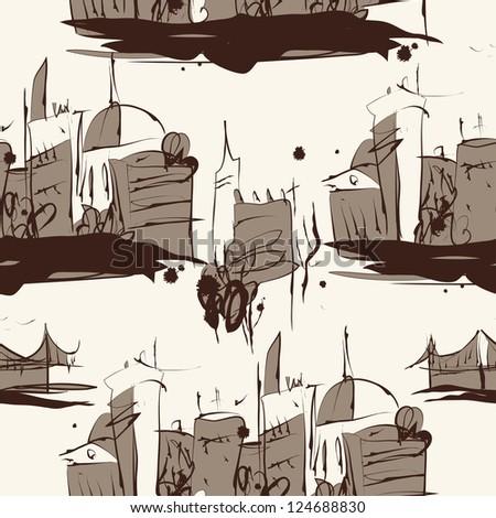 Grunge elegance ink splash seamless pattern of city