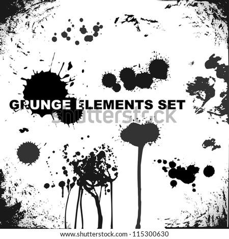 grunge elements, blots and splashes