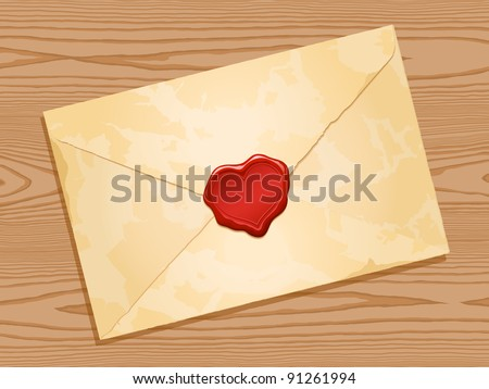 grunge envelope with red heart wax seal wood background