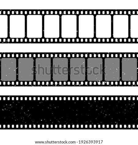 Grunge film strips collection. Old retro cinema movie strip. Video recording. Vector illustration.