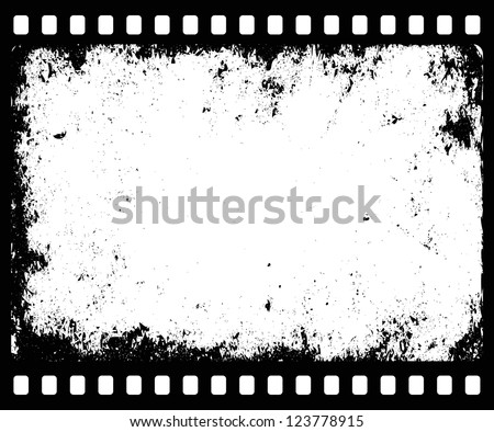 grunge filmstrip with transparent space insert for picture or text - stock vector