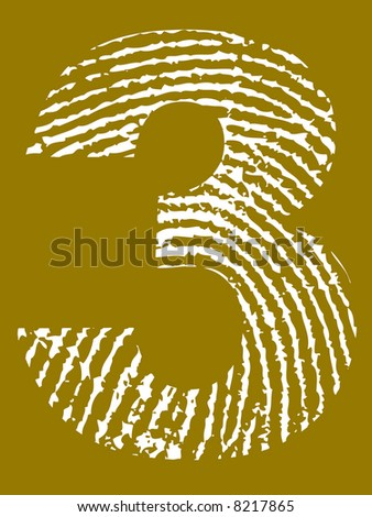 Grunge Fingerprint Alphabet - Number 3 (Highly detailed grunge letter)