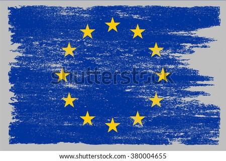 Grunge flag of European Union.Vector flag of EU.