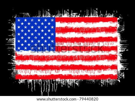 grunge flag of the united states of america isolated on black