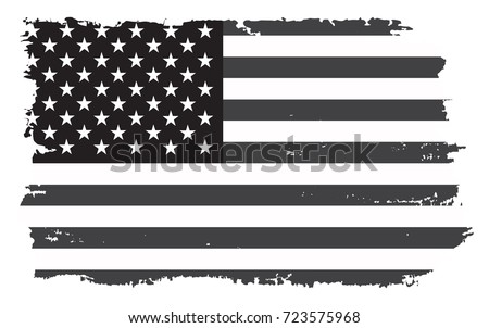 Grunge flag of United States.Vector black and white American flag. #723575968