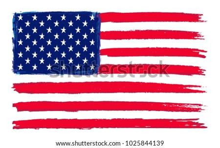 Grunge flag of USA.Vector American flag. #1025844139