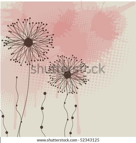 Grunge floral background. Vector card