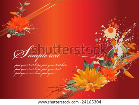 Grunge floral background, vector images scale to any size.