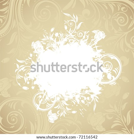 Grunge floral frame for design, vector illustration
