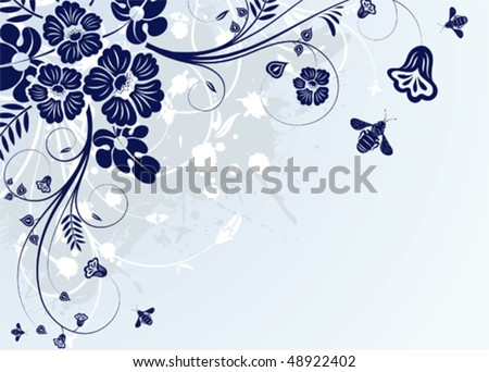 Grunge Floral Frame with bee for design, vector illustration - stock