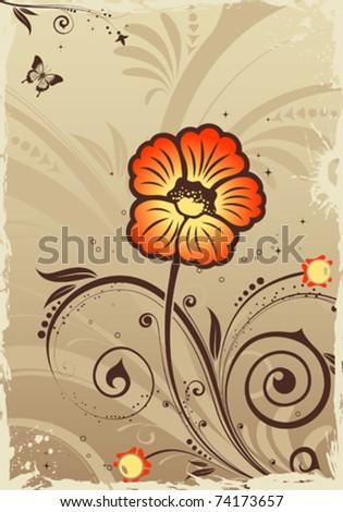 Grunge floral frame with butterfly, element for design, vector illustration