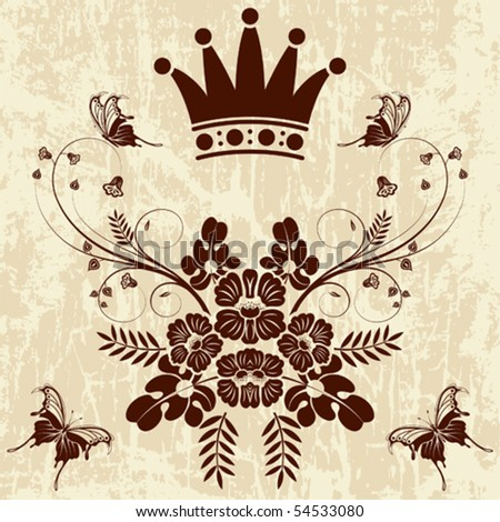 Grunge Floral frame with Crown, vector illustration