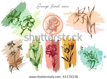 Grunge floral icons