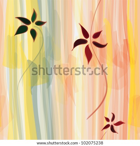 Grunge floral striped vertical seamless watercolor pattern