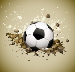 grunge football soccer ball falling on ground vector illustration