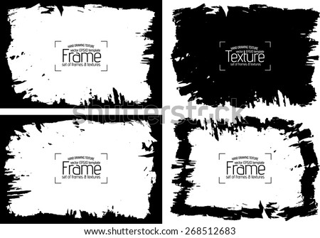 Grunge frame and texture set  - Abstract design template. Stock vector set  #268512683