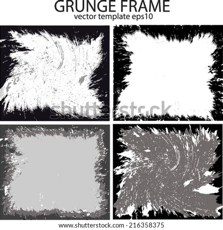 Grunge frame set. vector template #216358375