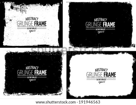 Grunge frame set. vector template texture #191946563